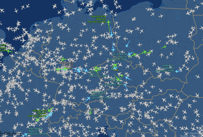 Air traffic over Europe